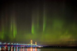 Jason Gillman captured this magnificent shot of the aurora over the Mackinac Bridge, two miles east of Headlands, Labor Day weekend, 2016