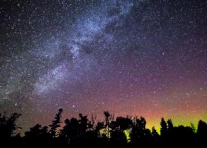 John Hill captured the aurora dancing above the old growth forest at Headlands. John will present an astrophotography workshop at Headlands May 6, 2017